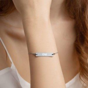 """Engraved """"OM"""" Silver Bar Chain Bracelet"""